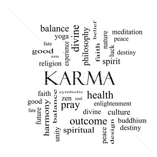 Karma szófelhő feketefehér nagyszerű egyensúly jóga Stock fotó © mybaitshop