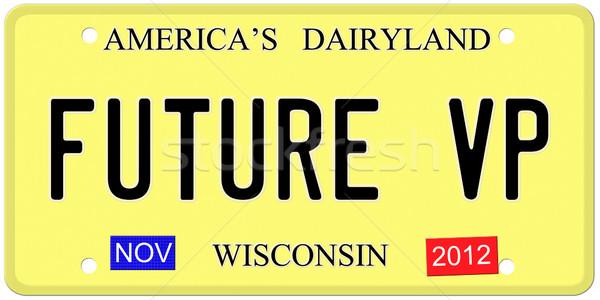Futuro placa imitação Wisconsin 2012 adesivos Foto stock © mybaitshop