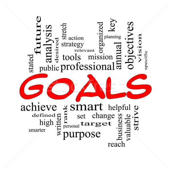 Goals Word Cloud Concept in red and black Stock photo © mybaitshop