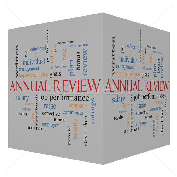Annual Review Word Cloud Concept on a 3D Cube Stock photo © mybaitshop