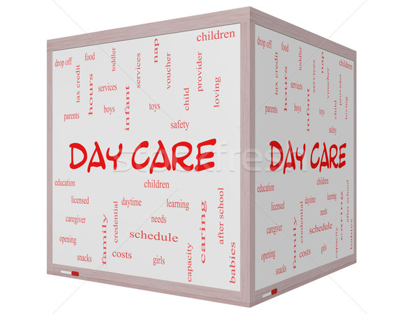 Day Care Word Cloud Concept on a 3D Cube Whiteboard Stock photo © mybaitshop