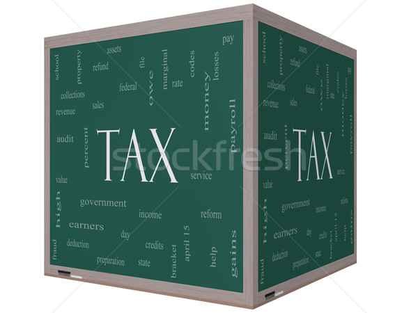 Stock photo: Tax Word Cloud Concept on a 3d cube Blackboard