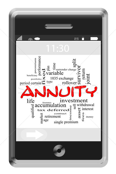 Annuity Word Cloud Concept on Touchscreen Phone Stock photo © mybaitshop