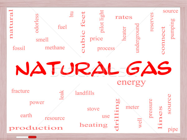 Natural Gas Word Cloud Concept on a Whiteboard Stock photo © mybaitshop
