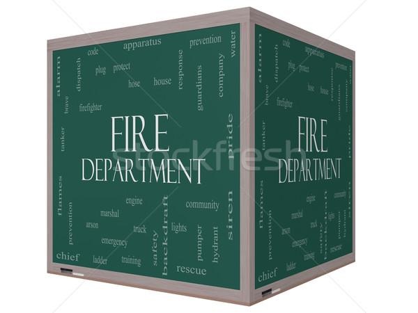 Tűzoltóság szófelhő 3D kocka iskolatábla nagyszerű Stock fotó © mybaitshop