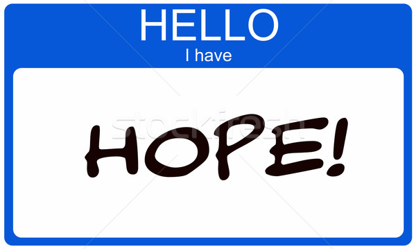 Hello I have Hope blue name tag sticker Stock photo © mybaitshop