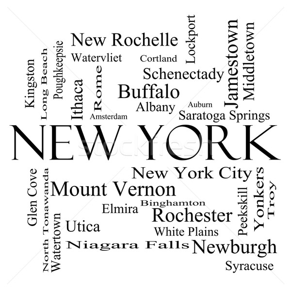 New York State Word Cloud Concept in black and white Stock photo © mybaitshop