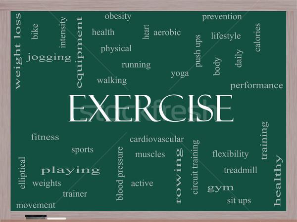 Testmozgás szófelhő iskolatábla nagyszerű aktív fitnessz Stock fotó © mybaitshop