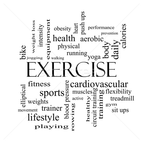 Exercise Word Cloud Concept in black and white Stock photo © mybaitshop