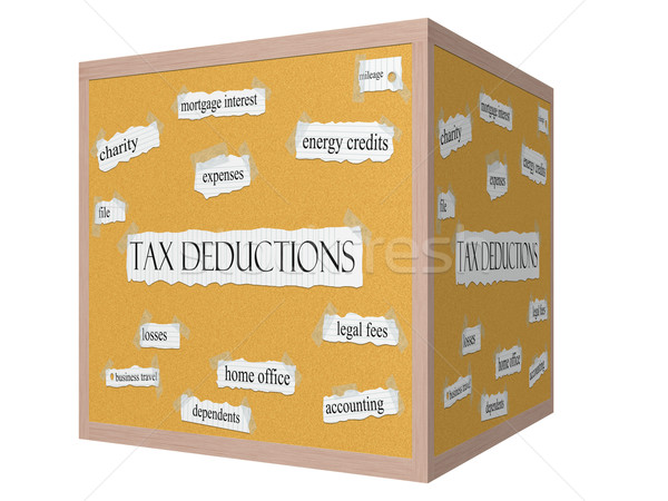 Tax Deductions 3D cube Corkboard Word Concept Stock photo © mybaitshop