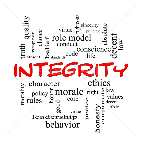 Integrity Word Cloud Concept in red caps Stock photo © mybaitshop