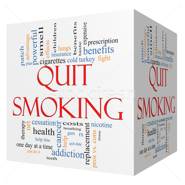 Quit Smoking Word Cloud Concept on a 3D cube Stock photo © mybaitshop