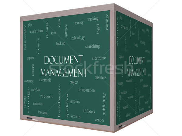 Document Management Word Cloud Concept on a 3D Blackboard Stock photo © mybaitshop