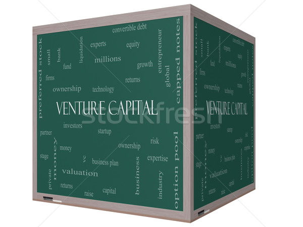 Venture Capital Word Cloud Concept on a 3D cube Blackboard Stock photo © mybaitshop