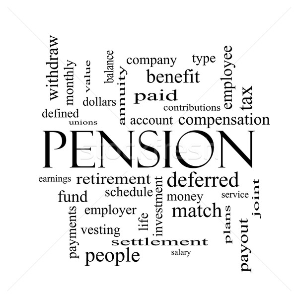 Pension Word Cloud Concept in black and white Stock photo © mybaitshop