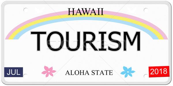 Turismo Havaí placa escrito imitação aloha Foto stock © mybaitshop