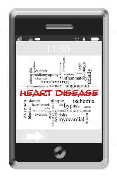 Malattie cardiache word cloud telefono attacco di cuore Foto d'archivio © mybaitshop