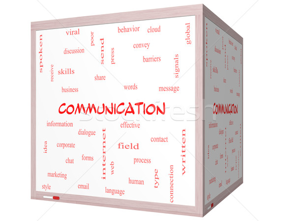 Communication Word Cloud Concept on a 3D cube Whiteboard Stock photo © mybaitshop
