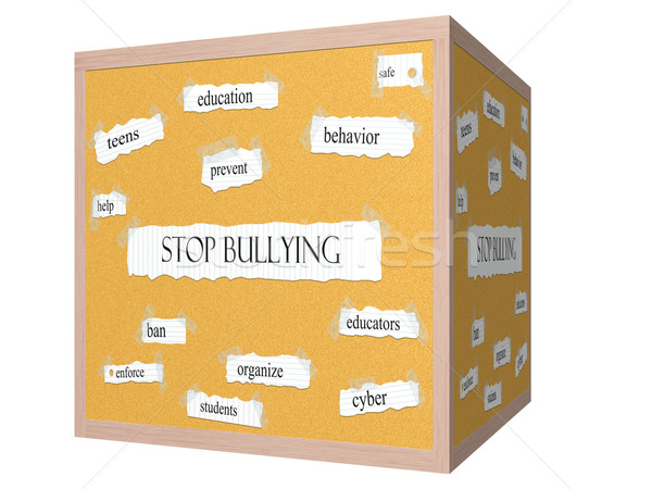 Stop Bullying 3D cube Corkboard Word Concept Stock photo © mybaitshop