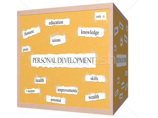 Personal Development 3D cube Corkboard Word Concept Stock photo © mybaitshop