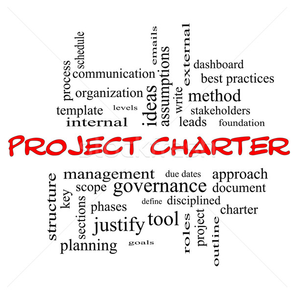 Project Charter Word Cloud Concept in red caps Stock photo © mybaitshop