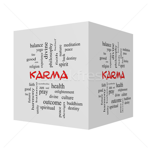 Karma 3d Cube Word Cloud Concept in red caps Stock photo © mybaitshop