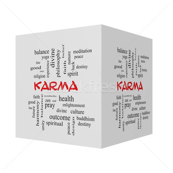 Karma 3D kocka szófelhő piros nagyszerű Stock fotó © mybaitshop