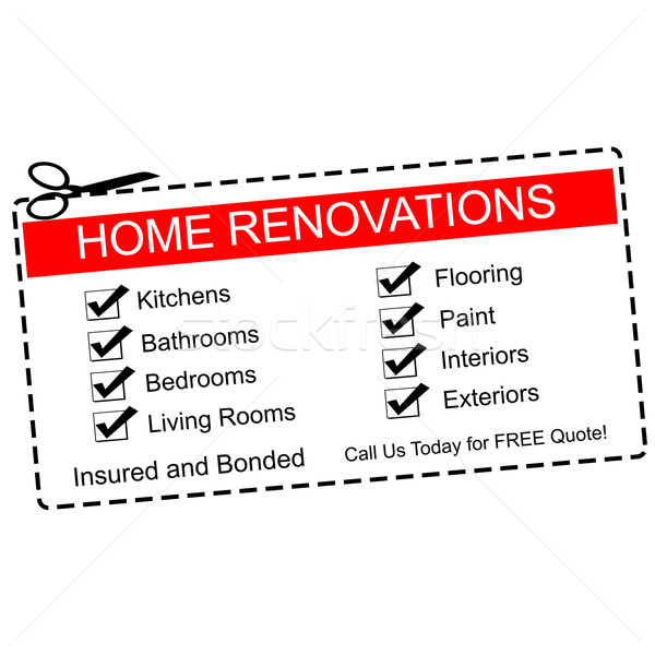Home Renovations red coupon Stock photo © mybaitshop
