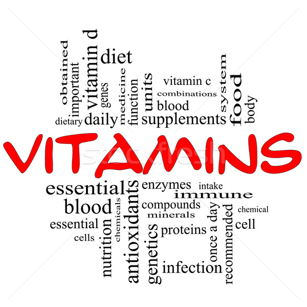 Vitamins Word Cloud Concept in red & black Stock photo © mybaitshop