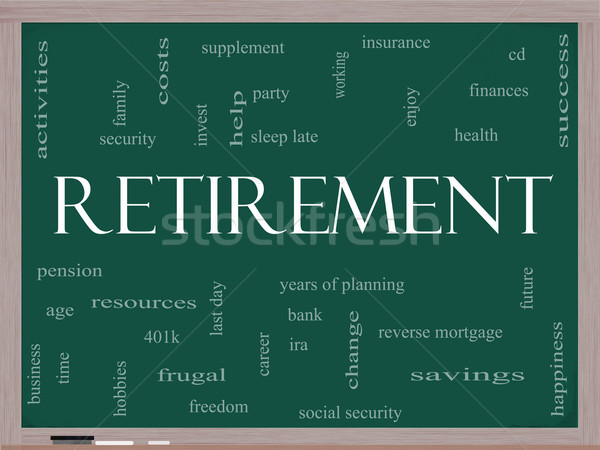 Retirement Word Cloud Concept on a Blackboard Stock photo © mybaitshop
