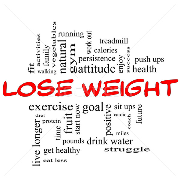 Lose Weight Word Cloud Concept in red & black Stock photo © mybaitshop