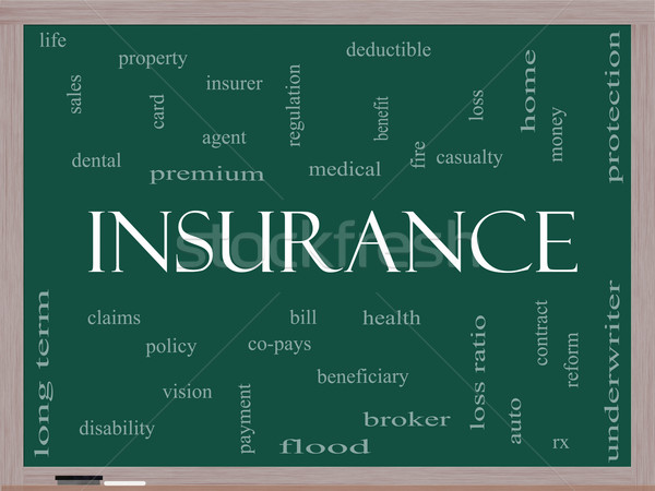 Insurance Word Cloud Concept on a Blackboard Stock photo © mybaitshop