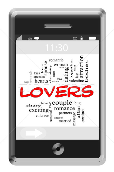 Lovers Word Cloud Concept on Touchscreen Phone Stock photo © mybaitshop