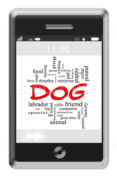 Dog Word Cloud Concept on Touchscreen Phone Stock photo © mybaitshop