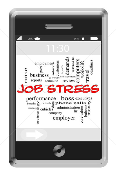 Stock photo: Job Stress Word Cloud Concept on Touchscreen Phone