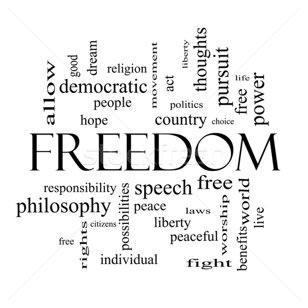 Stock photo: Freedom Word Cloud Concept in black and white