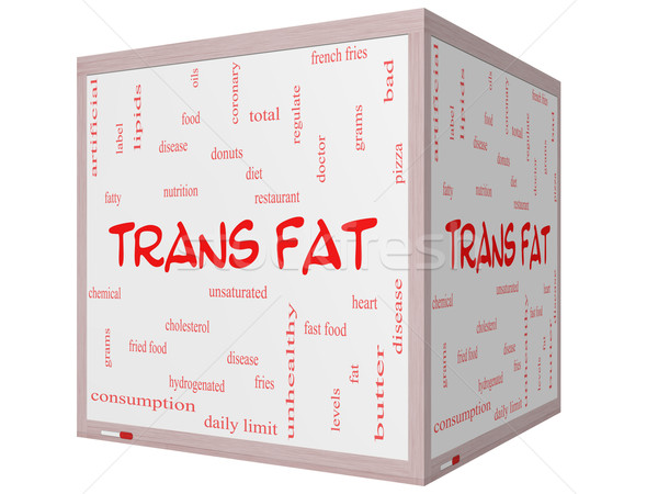 Stock photo: Trans Fat Word Cloud Concept on a 3D Cube Whiteboard