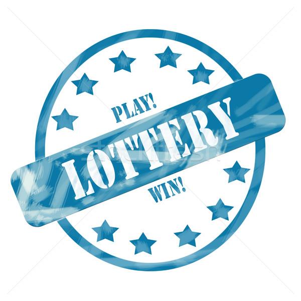 Niebieski wyblakły loteria pieczęć kółko gwiazdki Zdjęcia stock © mybaitshop