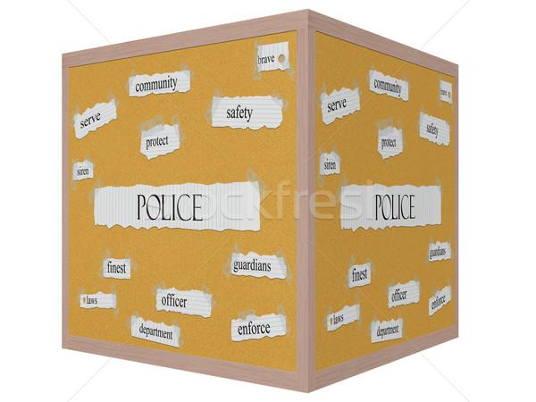 Politie 3D kubus woord groot veiligheid Stockfoto © mybaitshop
