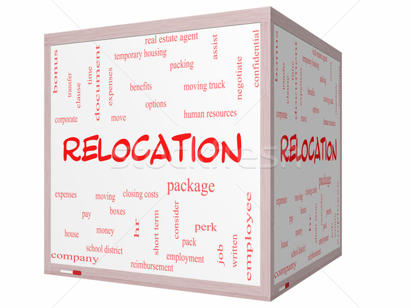 Relocation Word Cloud Concept on a 3D cube Whiteboard Stock photo © mybaitshop
