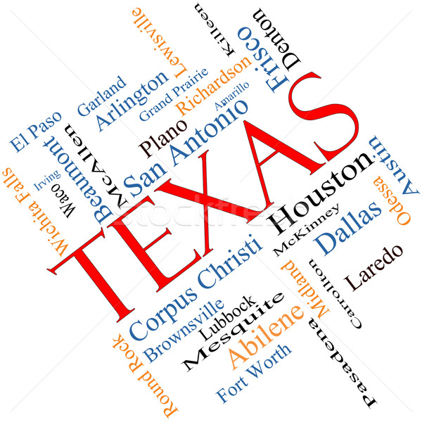 Texas State Word Cloud Concept Angled Stock photo © mybaitshop