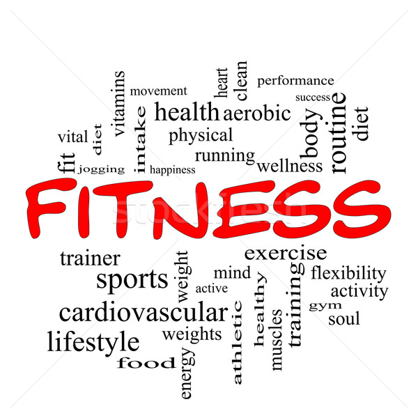 Fitness Word Cloud Concept in red caps Stock photo © mybaitshop
