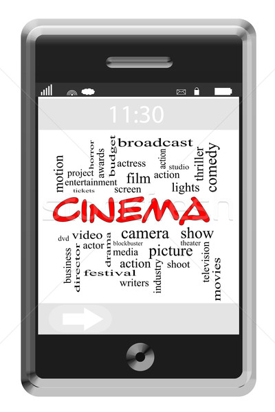 Stock photo: Cinema Word Cloud Concept on Touchscreen Phone