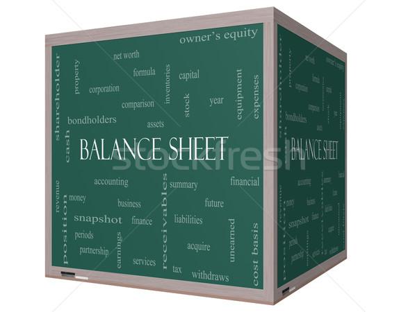 Balance Sheet Word Cloud Concept on a 3D cube Blackboard Stock photo © mybaitshop