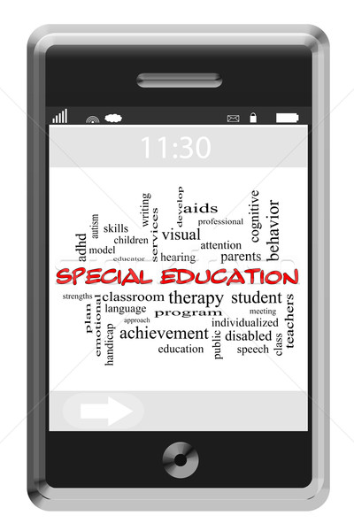 Special Education Word Cloud Concept on Touchscreen Phone Stock photo © mybaitshop