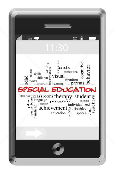 Spéciale éducation nuage de mots écran tactile téléphone magnifique Photo stock © mybaitshop