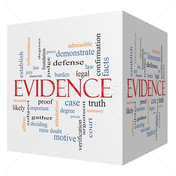 Evidence 3D cube Word Cloud Concept Stock photo © mybaitshop