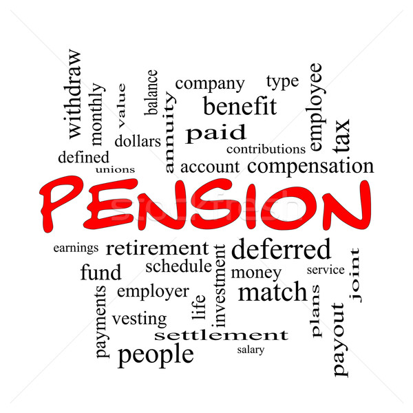 Pension Word Cloud Concept in red caps Stock photo © mybaitshop