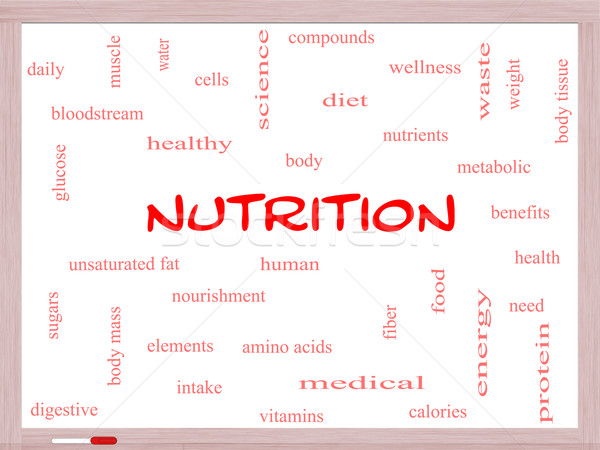 Nutrition Word Cloud Concept on a Whiteboard Stock photo © mybaitshop