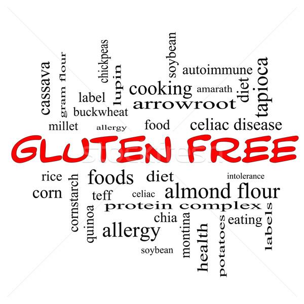 Glutenvrij woordwolk Rood groot voedsel allergie Stockfoto © mybaitshop
